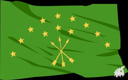 Национальный флаги Адыгеи, Абхазии и Российской Федерации