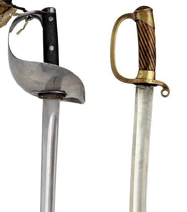 Найдите отличия: шашка обр. 1881 года (Россия) и сабля обр. 1899 года (Англия)